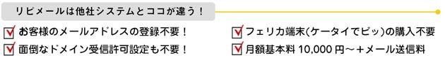 リピメールは他社システムとここが違います。・お客様のメールアドレスの登録不要!・面倒なドメイン受信許可設定も不要!・フェリカ端末(ケータイでピッ)の購入不要・月額基本料10,000円~+メール送信料